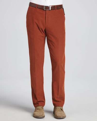 Fine-Wale Corduroy Pants, Orange