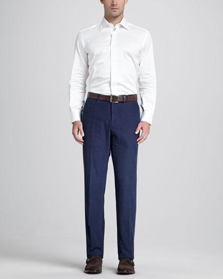 Corduroy Flat-Front Pants, Blue