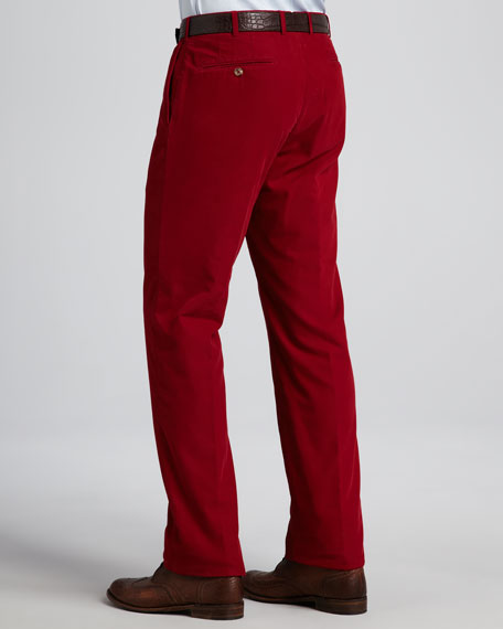 Corduroy Flat-Front Pants, Red