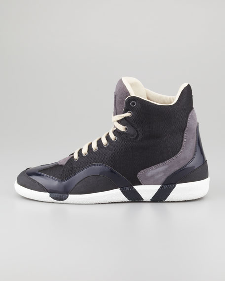 Wave Accent High-Top Sneaker, Black/Gray