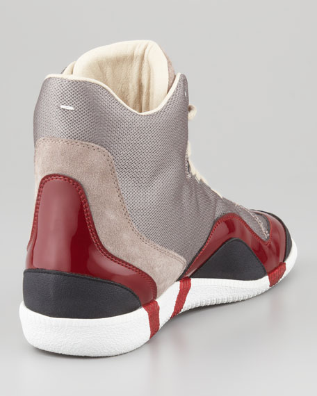 Wave Accent High-Top Sneaker, Red
