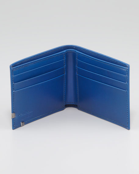 Angolino Leather Bi-Fold Wallet, Navy