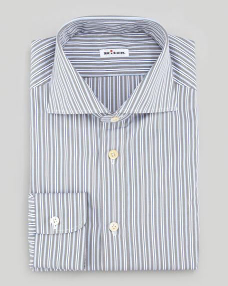 Multi-Striped Poplin Dress Shirt, Blue/White/Gray