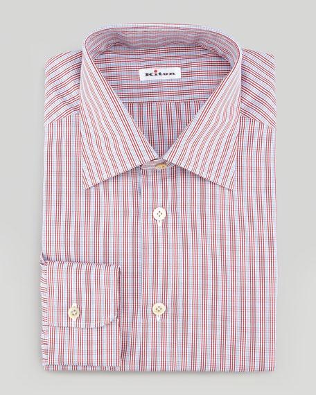 Small-Plaid Poplin Dress Shirt, Red/White
