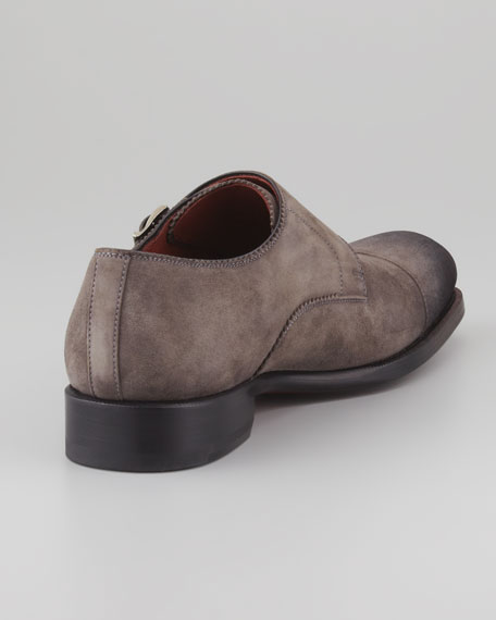 Double-Monk Suede Loafer, Gray
