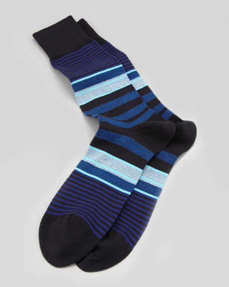 Twisted Stripe Men's Socks, Navy