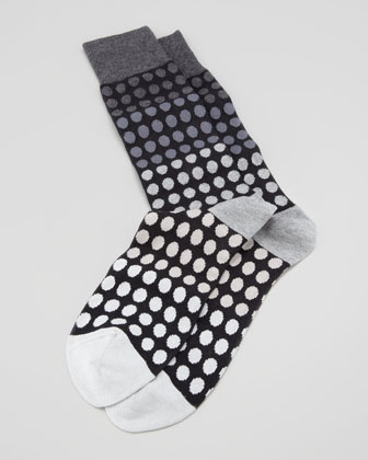 Faded Polka-Dot Men's Socks, Gray