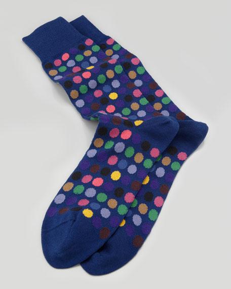 Multicolored Polka-Dot Men's Socks, Navy