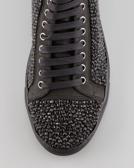 Lajos Crystallized Skull High-Top Sneaker, Black