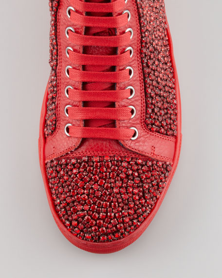 Lajos Crystallized High-Top Sneaker, Tomato