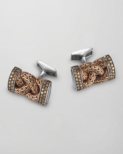John Hardy Classic Chain Silver/Bronze Cuff Links with Diamonds