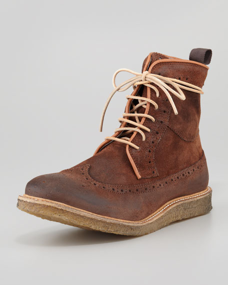 Pachua Suede Wing-Tip Boot, Chocolate