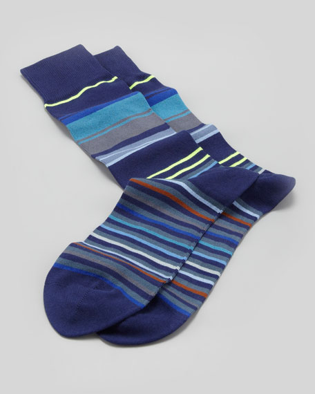 Neon Striped Socks, Navy