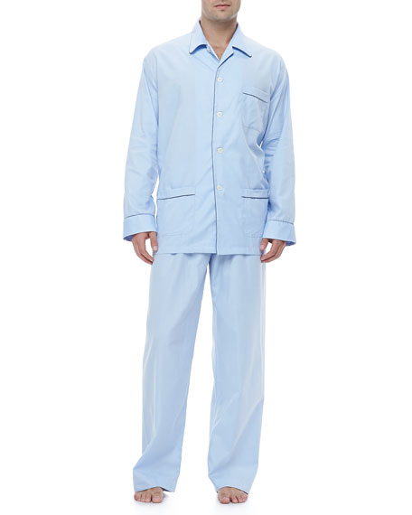 Men's Pajamas with Piping Detail, Blue