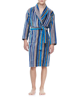 Derek Rose Terry Cloth Robe, Blue