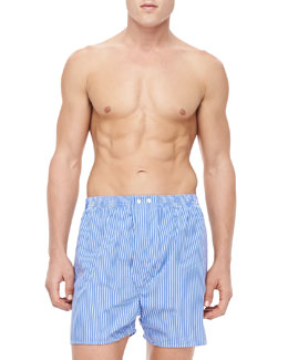 Derek Rose Pinstripe Boxer Shorts, Blue