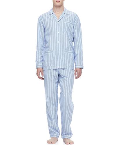 NEIMAN MARCUS Classic Men's Pajamas, Blue Stripe