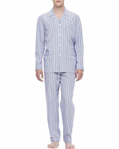 NEIMAN MARCUS Classic Men's Pajamas, Red/Blue