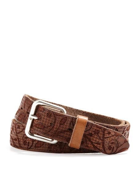 Men's Floral Perforated Belt, Brown