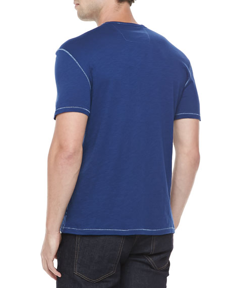 V-Neck Slub T-Shirt, Dark Blue