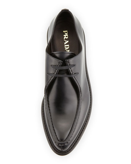 Wallaby Leather Lace-Up, Nero