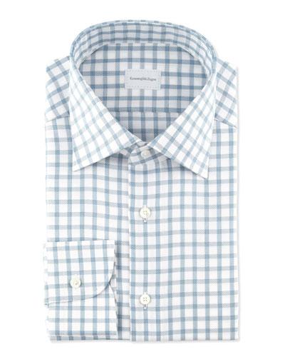 Ermenegildo Zegna Bold Twill Box-Check Dress Shirt