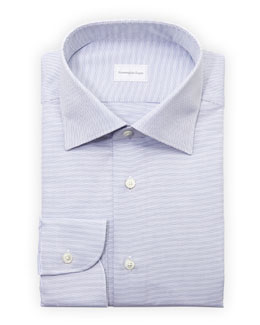 Ermenegildo Zegna Micro-Check Dress Shirt, Blue