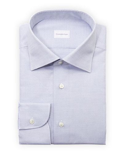 Ermenegildo Zegna Micro-Check Dress Shirt, Blue