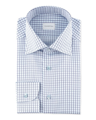 Ermenegildo Zegna Grid Check Dress Shirt, Blue
