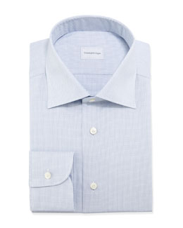 Ermenegildo Zegna Micro-Basketweave Dress Shirt, Blue