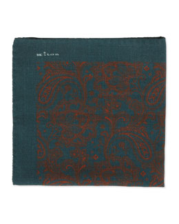 Kiton Soft Paisley-Print Pocket Square, Gray