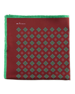 Kiton Diamond Neat Pocket Square with Solid Trim, Wine