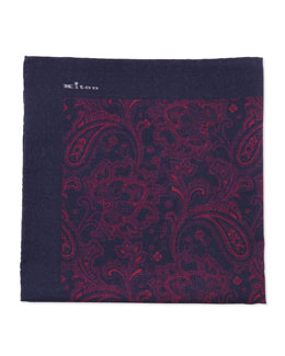 Kiton Soft Paisley-Print Pocket Square, Navy
