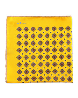 Kiton Diamond Neat Pocket Square with Solid Trim, Yellow