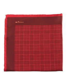 Kiton Glen Plaid Pocket Square with Two-Tone Solid Trim, Red