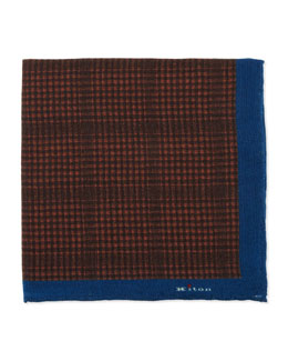 Kiton Plaid Pocket Square with Solid Trim, Scarlet