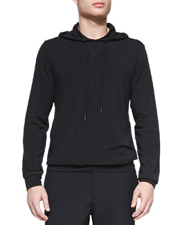 Theory Stretch-Cotton Hoodie, Black