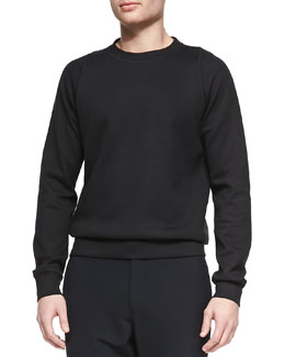 Theory Solid Crewneck Sweatshirt, Black