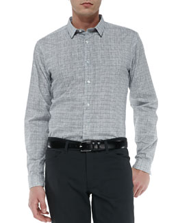 Theory Dover Micro-Grid Dress Shirt, White/Black