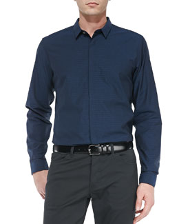 Theory Stephan Poplin Long-Sleeve Shirt, Navy