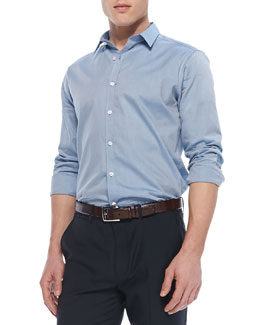 Theory Zack PS Shirt in Ermosa Cotton, Light Blue