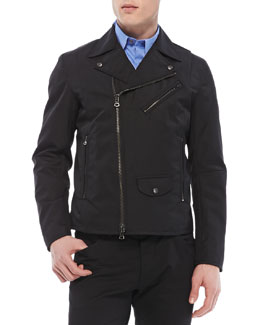Theory Vilson Moto-Jacket in Boss Nylon, Black