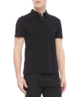 Theory Bron W Polo in Plaito Pique, Black