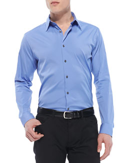 Theory Sylvain Shirt in Wealth Stretch-Cotton, Blue