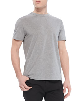 Theory Andrion Tee in Plaito Silk-Blend, Light Gray