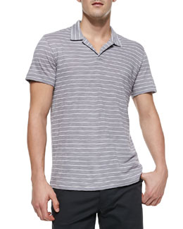 Theory Willem Striped Silk-Cotton Polo, Gray