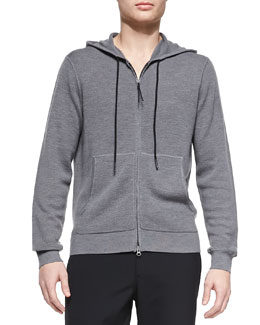 Theory Waffle-Knit Hooded Zip Sweatshirt