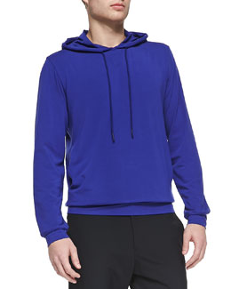Theory Stretch-Cotton Hoodie, Royal Blue