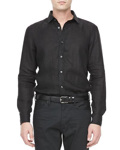 Ralph Lauren Black Label Long-Sleeve Linen Sport Shirt, Black