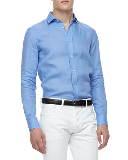Ralph Lauren Black Label Linen Long-Sleeve Shirt, Light Blue